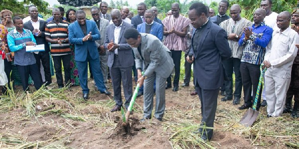 Chairman of the Church of Pentecost, Aps. Nyamekye officially cutting a sod for the commencement of the prison construction.