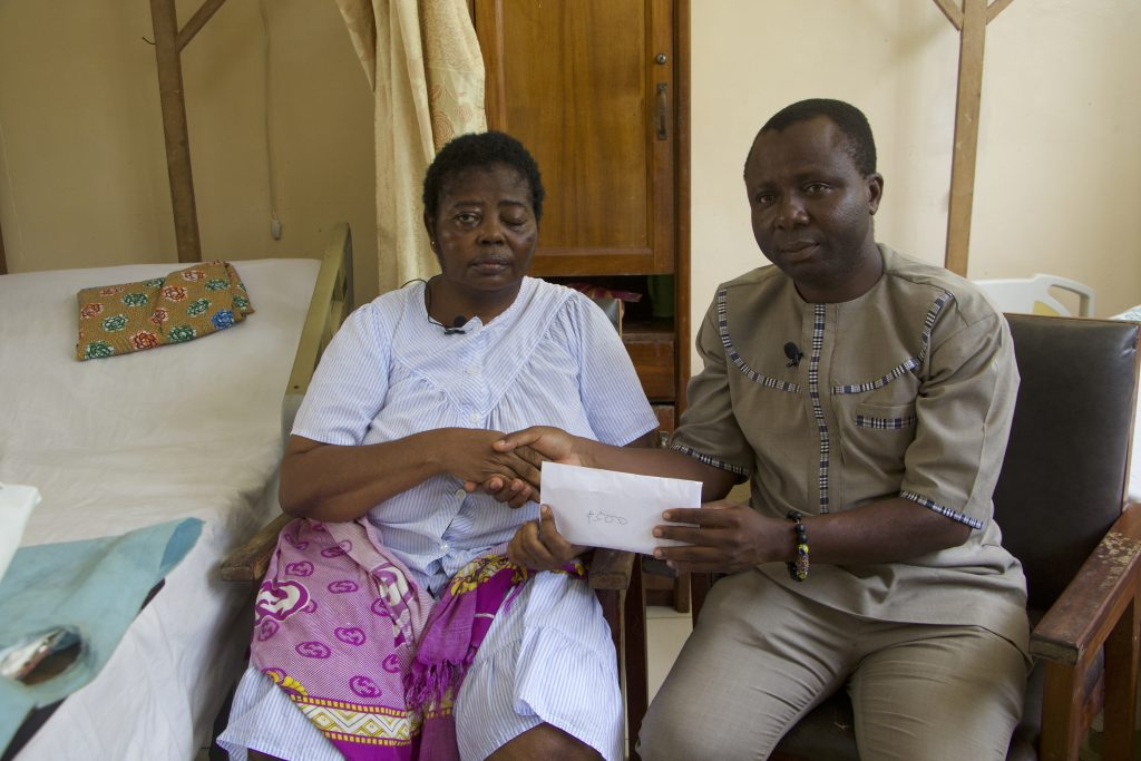 Crime Check Foundation CCF, pays a visit to Tumor patient, Alimatu Ali who has been scheduled for surgery at the Korle-Bu Teaching hospital.
