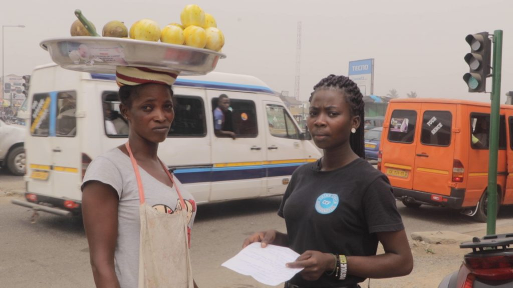 A graduate of Zuarungu Nursing Training in the Upper East Region, Ndoo Mary Azure is currently on the streets of Accra selling to make a living following failure by government to post graduate nurses on time.