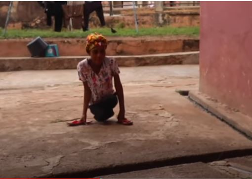 Physically challenged 26 year old Georgina Oboh despite her situation, has to work to cater for herself